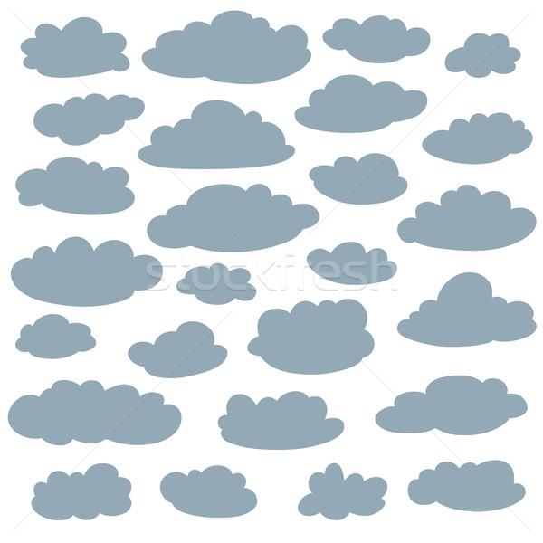 Nuvem silhuetas coleção conjunto vetor desenho animado Foto stock © ESSL