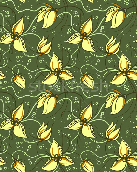 Seamless Pattern with Stylized Orchids Flowers Stock photo © ESSL