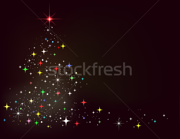 Сток-фото: вектора · аннотация · зима · звезды · рождественская · елка · дерево