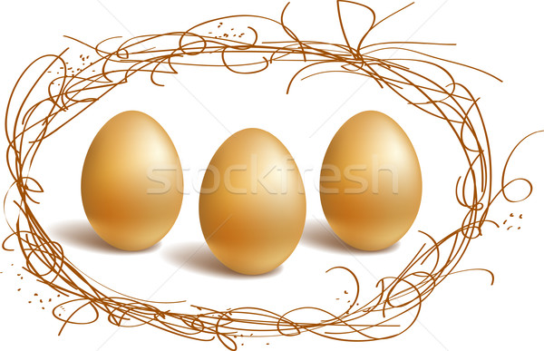 Gold eggs in the nest frame Stock photo © ESSL