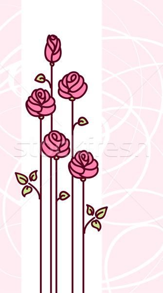 Kartkę z życzeniami cute różowy stylizowany róż streszczenie Zdjęcia stock © ESSL