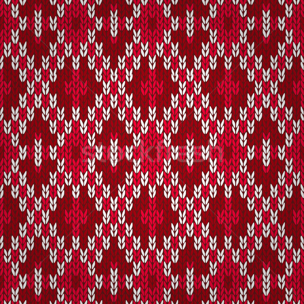 Seamless Christmas Red Knitted Pattern. Style Knit woolen jacqua Stock photo © ESSL