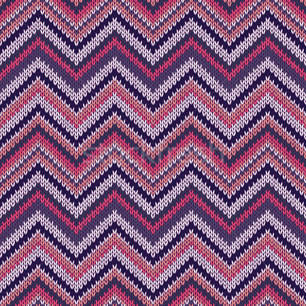 Seamless geometric ethnic spokes knitted pattern. Blue white red pink color knitwear sample Stock photo © ESSL