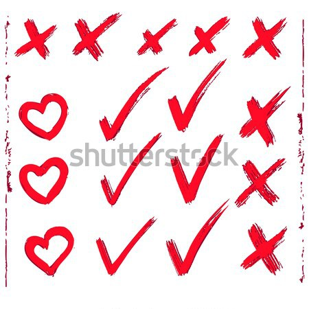 set of red painted ticks  Stock photo © ESSL
