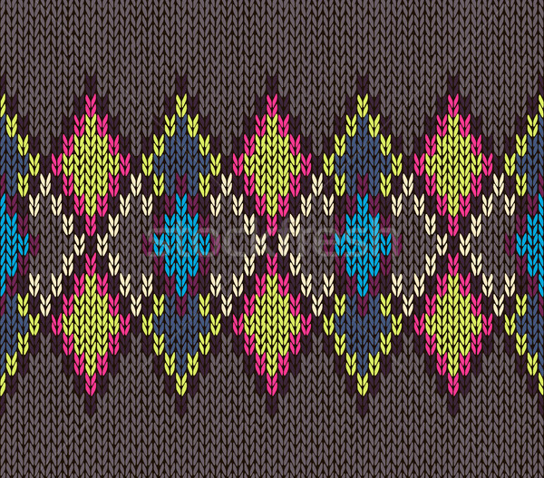 Seamless Knitted Pattern. Blue Yellow Red White Brown Color. Fashionable youth modern style Stock photo © ESSL