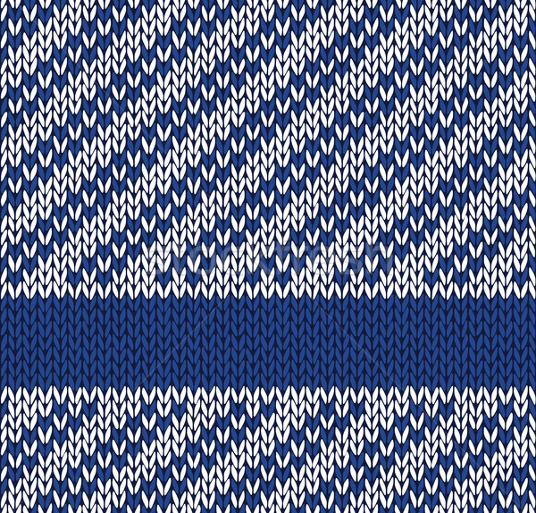 Style Seamless Marine Blue White Color Knitted Vector Pattern Stock photo © ESSL