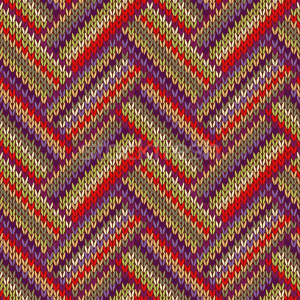 Sem costura tricotado padrão estilo vermelho verde Foto stock © ESSL