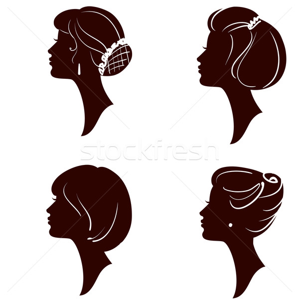 Stock photo: vector beautiful women and girl silhouettes with different hairs