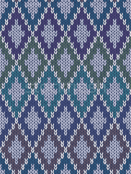 Seamless Light Background of Color Knitted Wool Gingham Squares Stock photo © ESSL