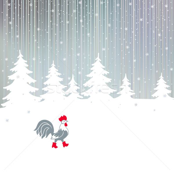 Cock walking on a snowy winter the magical forest. Stock photo © ESSL