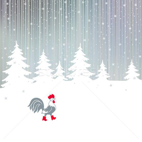 Haan lopen winter magisch bos haan Stockfoto © ESSL