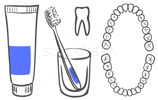 Tandpasta borstel tanden glas geneeskunde witte Stockfoto © ESSL
