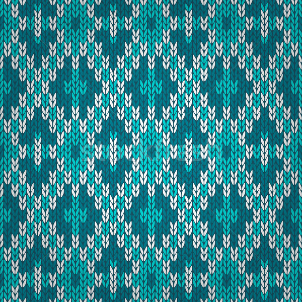 Seamless Knitted Pattern. Style Knit woolen jacquard ornament te Stock photo © ESSL