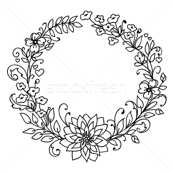 Floral Wreath Merry Christmas And New Year Concept Vector