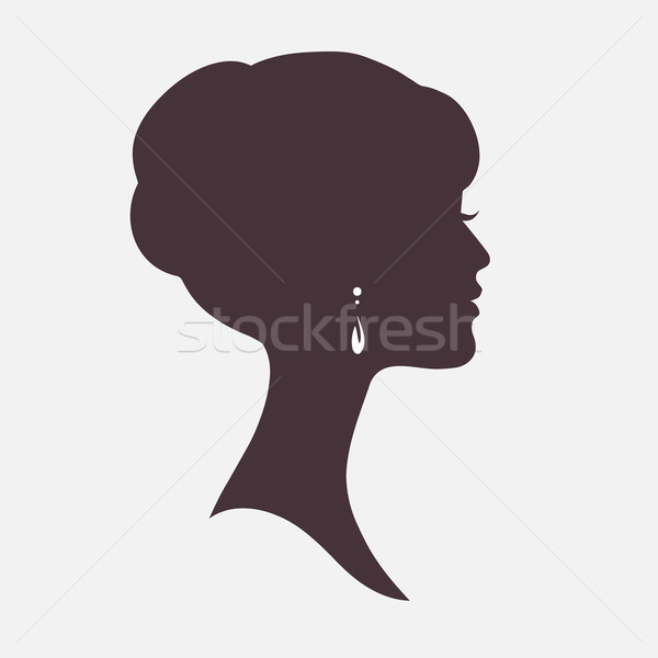 Woman Face Silhouette with Stylish Hairstyle Stock photo © ESSL