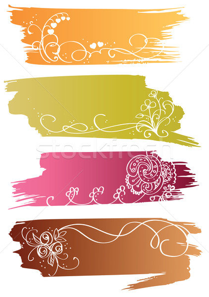 Floral colorful banners with flower and heart  Stock photo © ESSL