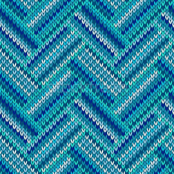 Estilo sem costura azul branco cor tricotado Foto stock © ESSL