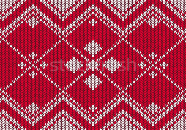 Style seamless red and white knitted pattern Stock photo © ESSL