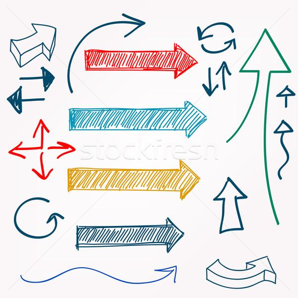Arrow color sketchy design elements set vector illustration  Stock photo © ESSL