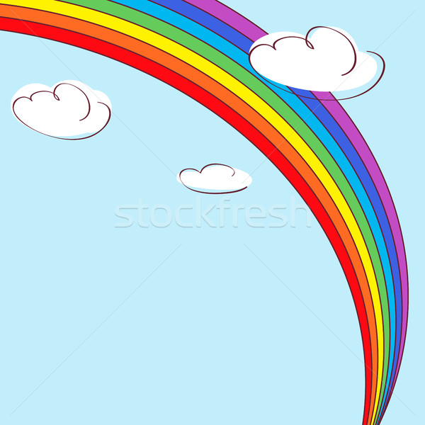Rainbow and clouds. Light blue vector background Stock photo © ESSL