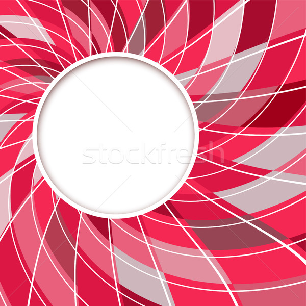 Abstract White Round Shape With Digital Red And Grey Pattern