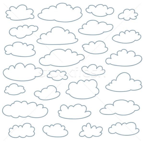 Cloud outlines collection. Set of vector cartoon cute simple clouds shapes Stock photo © ESSL