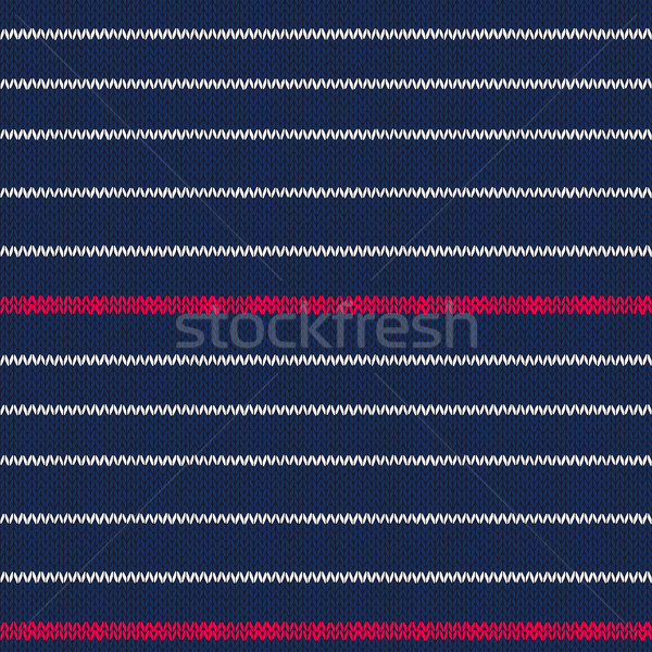 Seamless knitted pattern with red white stripes Stock photo © ESSL