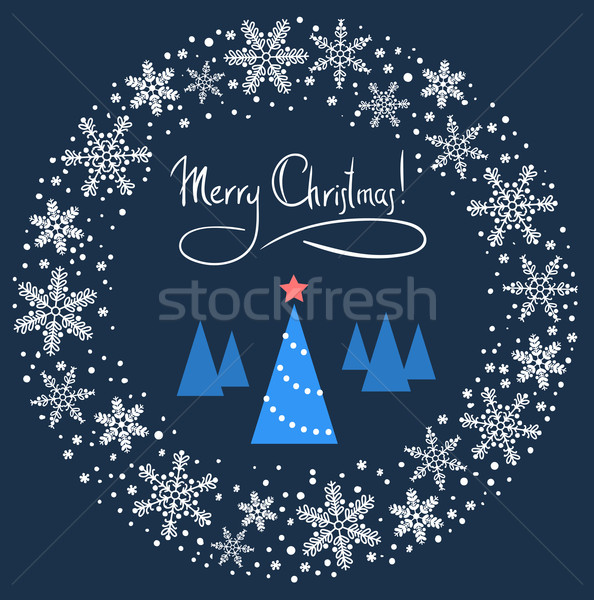 Christmas Wreath with Blue Tree and Red Star. Vector Illustratio Stock photo © ESSL