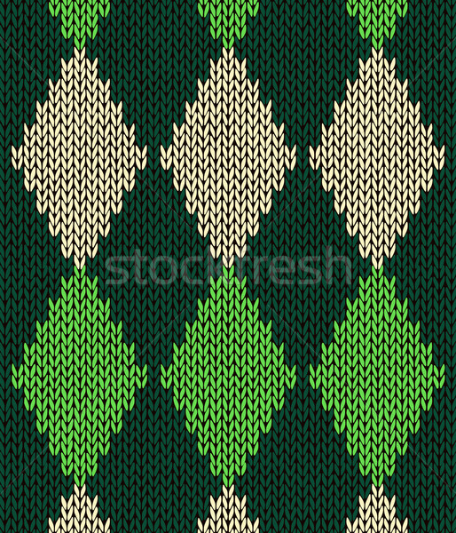Stock photo: Style seamless green color knitted pattern