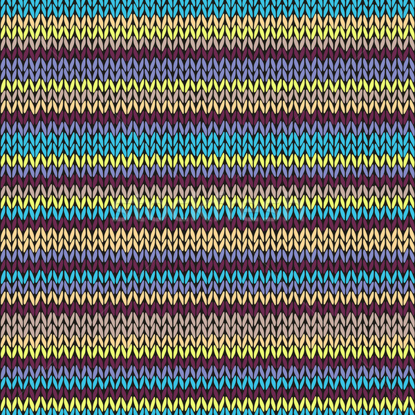 Knit Seamless Multicolor Striped Pattern. Blue Yellow Pink Vinou Stock photo © ESSL