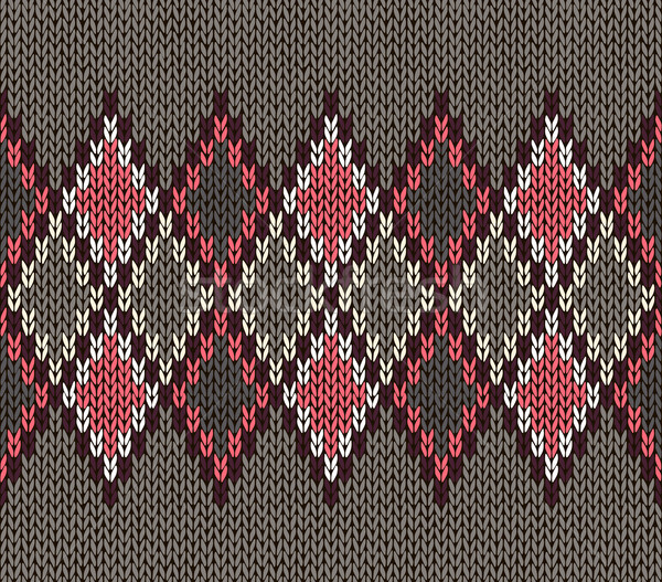 Seamless Gray Background of Color Knitted Wool Gingham Squares Stock photo © ESSL