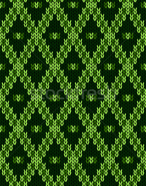 Knit woolen seamless jacquard ornament texture. Fabric Green col Stock photo © ESSL