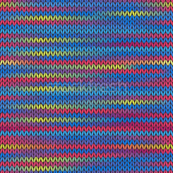 Stijl naadloos gebreid patroon Rood Blauw Stockfoto © ESSL