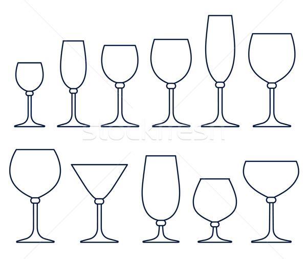 Set of glasses for alcoholic drinks Stock photo © ESSL