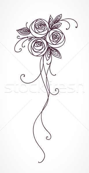 Roses. Stylized flower bouquet hand drawing. Outline icon symbol. Present for wedding, birthday invi Stock photo © ESSL