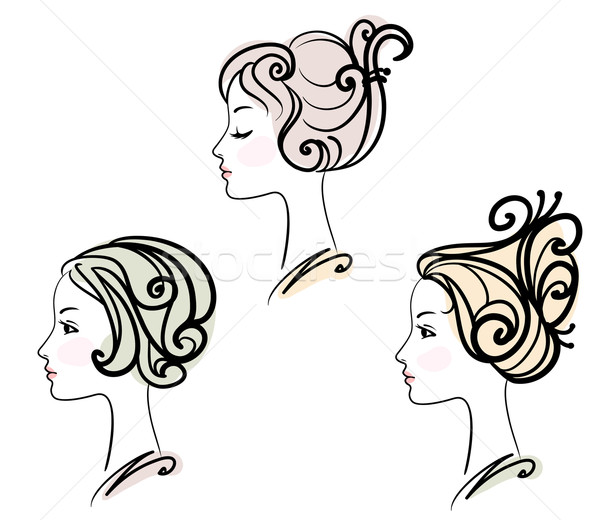 portrait of three female with stylised hairstyles Stock photo © ESSL