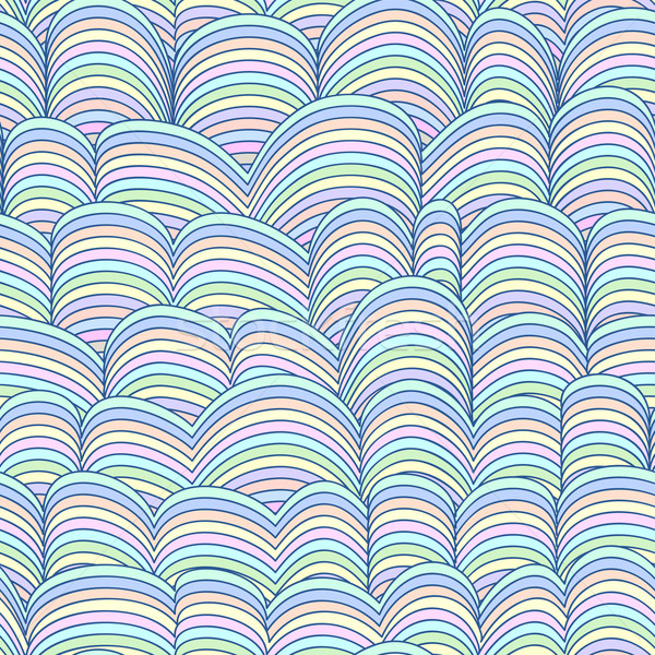 Colorful Seamless Waves Abstract Hand-drawn Pattern Stock photo © ESSL