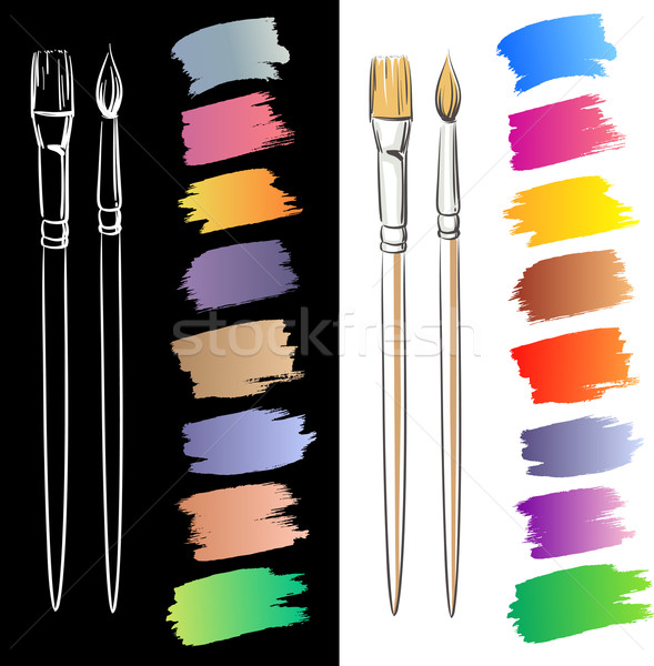 Brushes and grunge painted elements. Vector painted banners Stock photo © ESSL