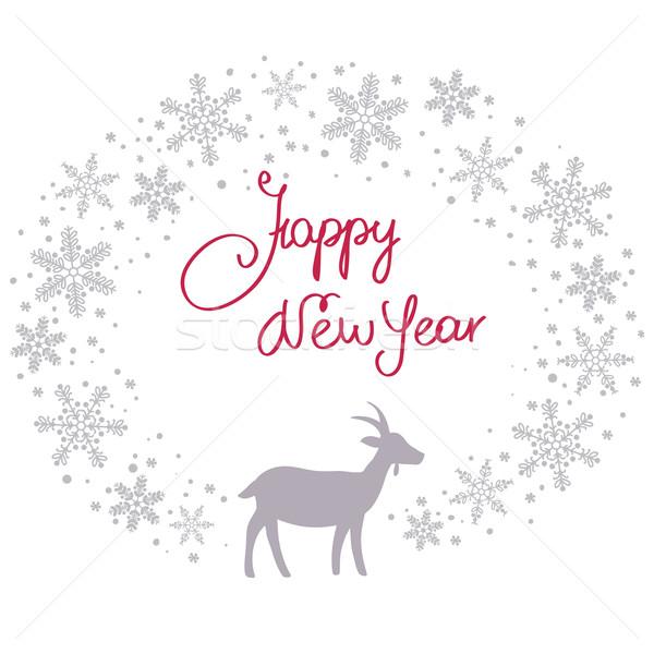 Рождества снега гирлянда коза аннотация дизайна Сток-фото © ESSL