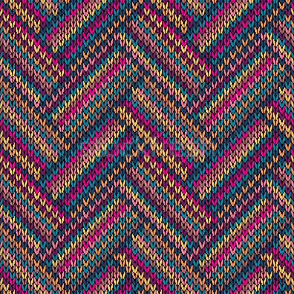 Stock photo: Multicolored Seamless Funny Knitted Pattern