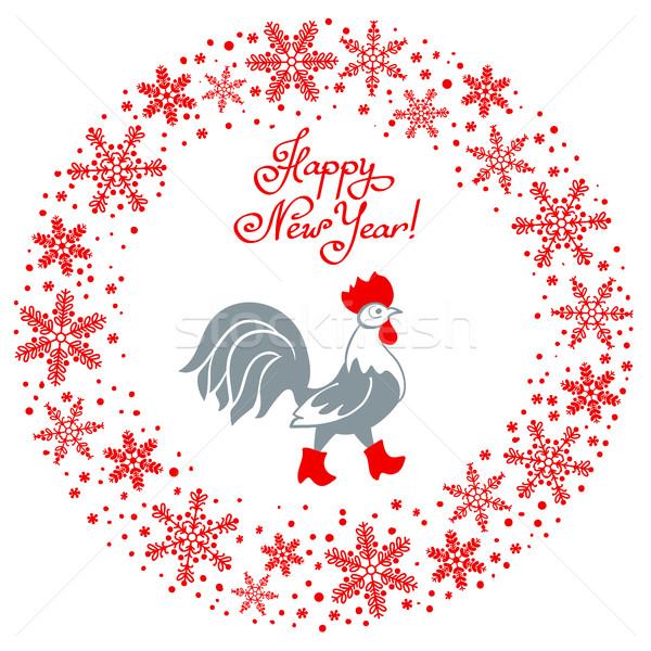 Coq rouge bottes cartoon stylisé symbole Photo stock © ESSL