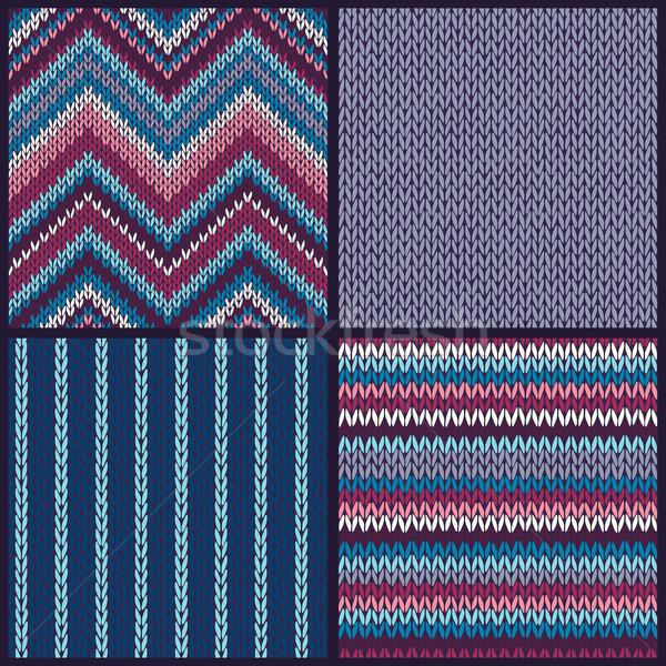 Sem costura tricotado padrão conjunto cor fundos Foto stock © ESSL