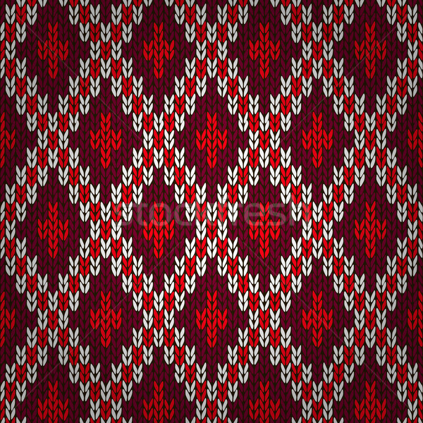 Sem costura vermelho tricotado padrão natal estilo Foto stock © ESSL