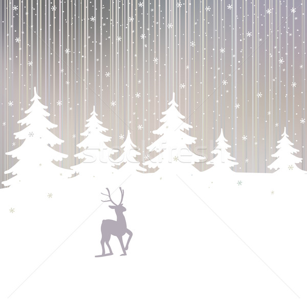 Christmas background of winter forest and deer  Stock photo © ESSL