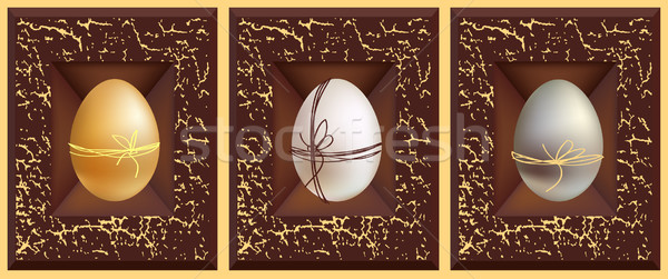 3D vecteur oeufs or blanche argent Photo stock © ESSL