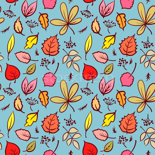 Sin costura otono cielo azul hermosa color hojas Foto stock © ESSL