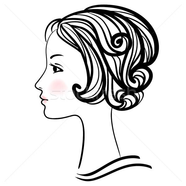 Woman face silhouette. Female head with stylish hairdo. Stock photo © ESSL