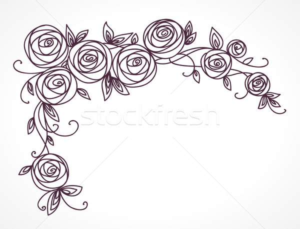 Stylized rose flowers bouquet. Branch of flowers and leaves interlacing. Corner horizontal decorativ Stock photo © ESSL