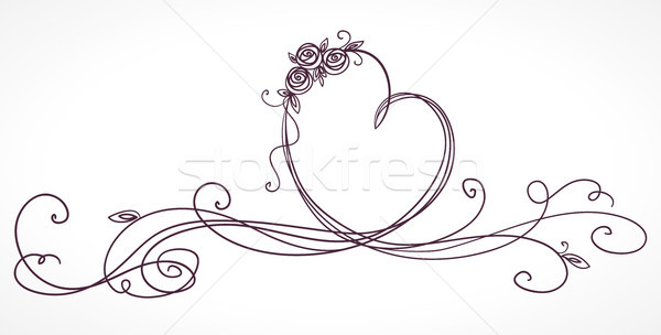 Heart shape ribbon. Valentines day, wedding, birthday card. Isolated on white background. Stock photo © ESSL