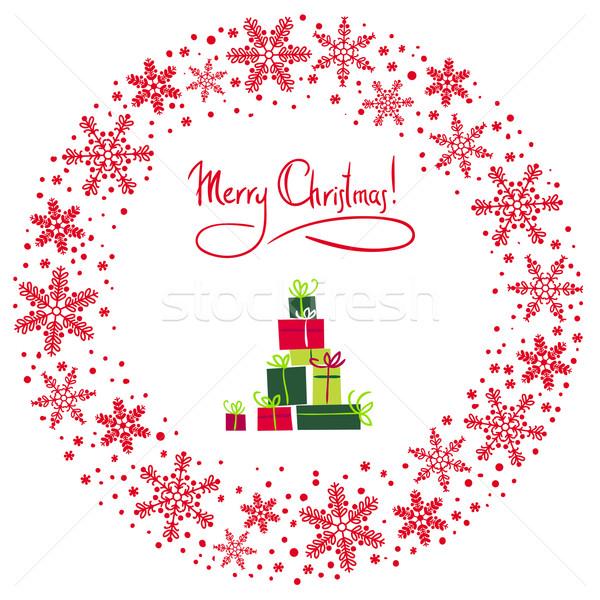 Vecteur Noël couronne cadeau design beauté Photo stock © ESSL